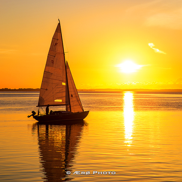 Sailboat leaving early in the morning