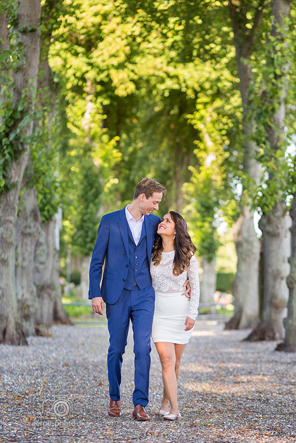 Along the beautiful tree alley on the island Ærø just after they got married.