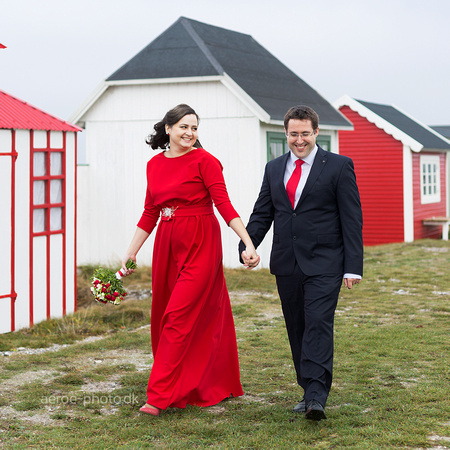 Happy couple at the beach huts on Ærø island.